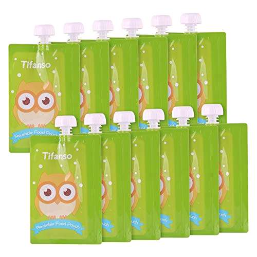 12 Pack 7 oz Owl Reusable Baby Food Squeeze Storage Pouches