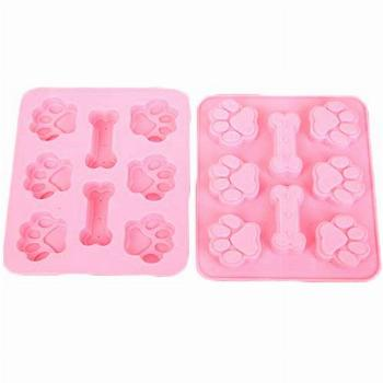 2 Pack Value Silicone Molds Pet Treat Paw and Bones, Animal