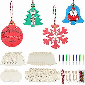 40Pcs DIY Christmas Ornaments Craft for Kids Unfinished