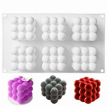 6-Cavity Bubble Candle Mold, 3D Cube Ball Mold Silicone Mold