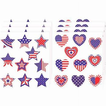 80 Pieces Patriotic Star and Heart Stickers Colorful Star
