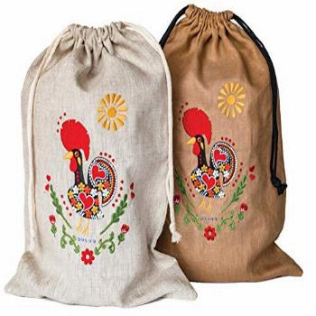 Artisan Linen Bread Bags, Embroidered Set of 2 Large