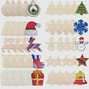 ATFUNSHOP Christmas Ornaments Wooden Slices with Bell 50PCS