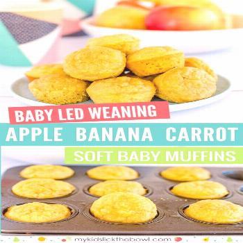 Baby Led Weaning Muffins No Sugar Healthy For Kids Soft Baby Muffin Apple Banana and Carrot