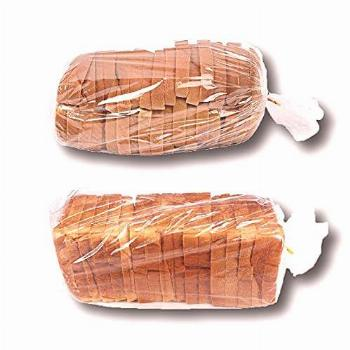 Bread Bags with Ties, Reusable, 100 Clear Bags and 100 Ties,