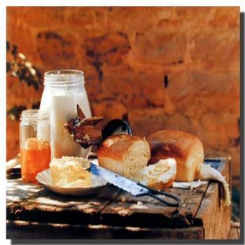 Country Homemade Bread Butter Gore Food Still Life Wall