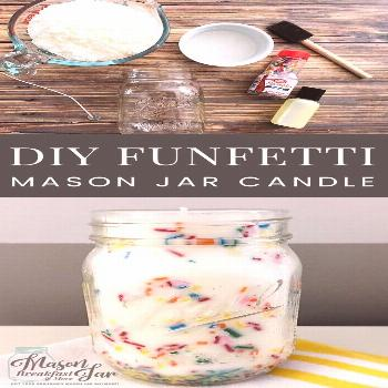 DIY Funfetti Soy Mason Jar Candles make fun centerpieces for birthday parties, easy homemade gift i