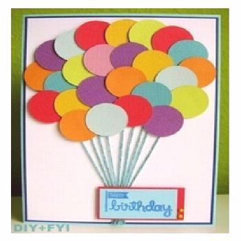 DIY, Homemade balloon card using round punch out for balloons; could be made from paint chip sample