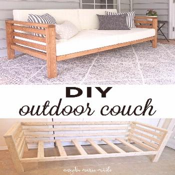 DIY Outdoor Couch - Angela Marie Made        How to build a DIY outdoor couch for only $30 in lumbe