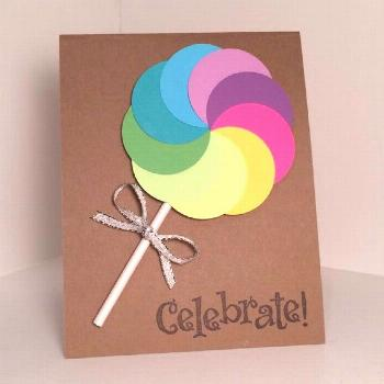 handmade birthday card, greeting card size (4.25 x 5.5) and envelope Lollipop on the front is 3-D a