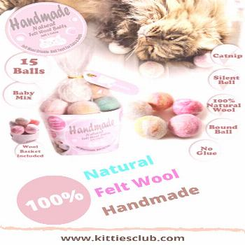 Handmade toys for cats - 15 felt wool balls will make your kitty really busy.