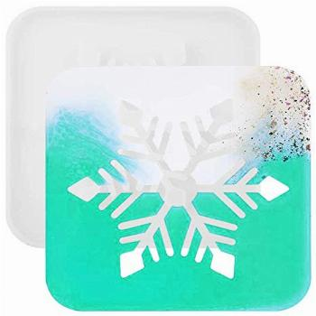 Hollow Snowflake Silicone Resin Coaster Mold, Geode Agate