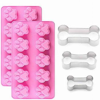 IHUIXINHE 2Packs Silicone Dog Paw Mold and 3 Packs Stainless
