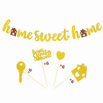 Joymee Home Sweet Home Banner Family Cupcake Toppers