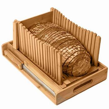 Kitchen Seven Bamboo Bread Slicer with Crumb Tray Bamboo