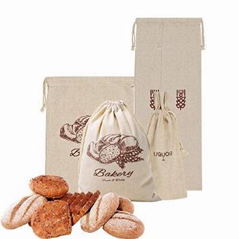 Mothers day gifts Linen Bread Bags for Homemade Bread,Pack