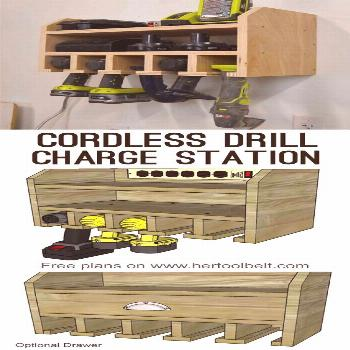 Organize your tools, free plans for a DIY cordless drill storage and battery charging station. Opti