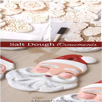 Painted Santa Salt dough ornaments are easy to make and the perfect craft for the holidays! via @A