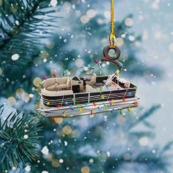 Pontoon Boat with Red Reindeer Hat and String Lights 2021