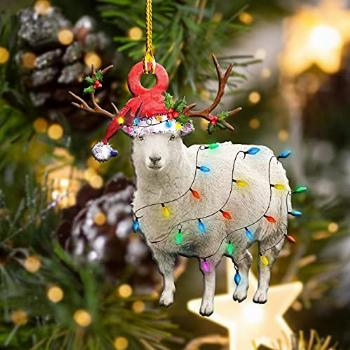 Sheep Wearing A Christmas Hat with String Lights 2021