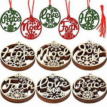 Shucom Wooden Snowflakes Ornaments Christmas Hollow Hanging