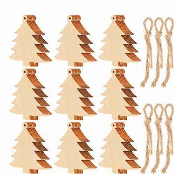 Tatuo 100 Pieces Wooden Christmas Tree Cutouts
