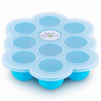 WeeSprout Silicone Baby Food Freezer Tray with Clip-on Lid