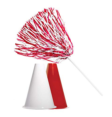 Andersons Red and White Poms and Megaphones Set, School