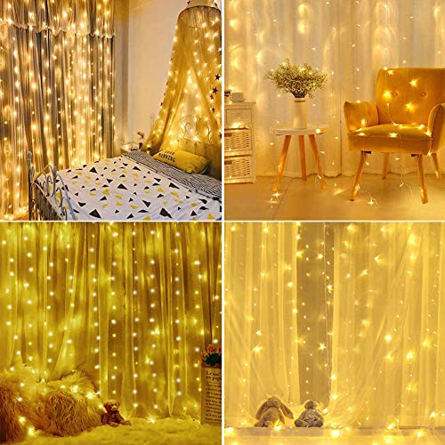 Curtain Lights 300 Led Window Curtain String Light with 8