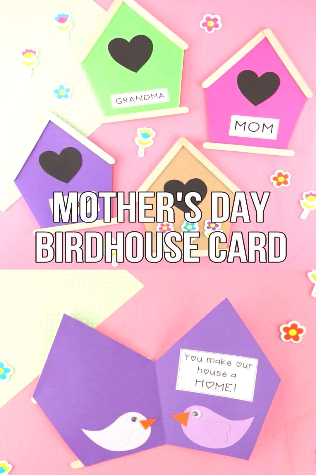 Cute Mothers Day Birdhouse Card