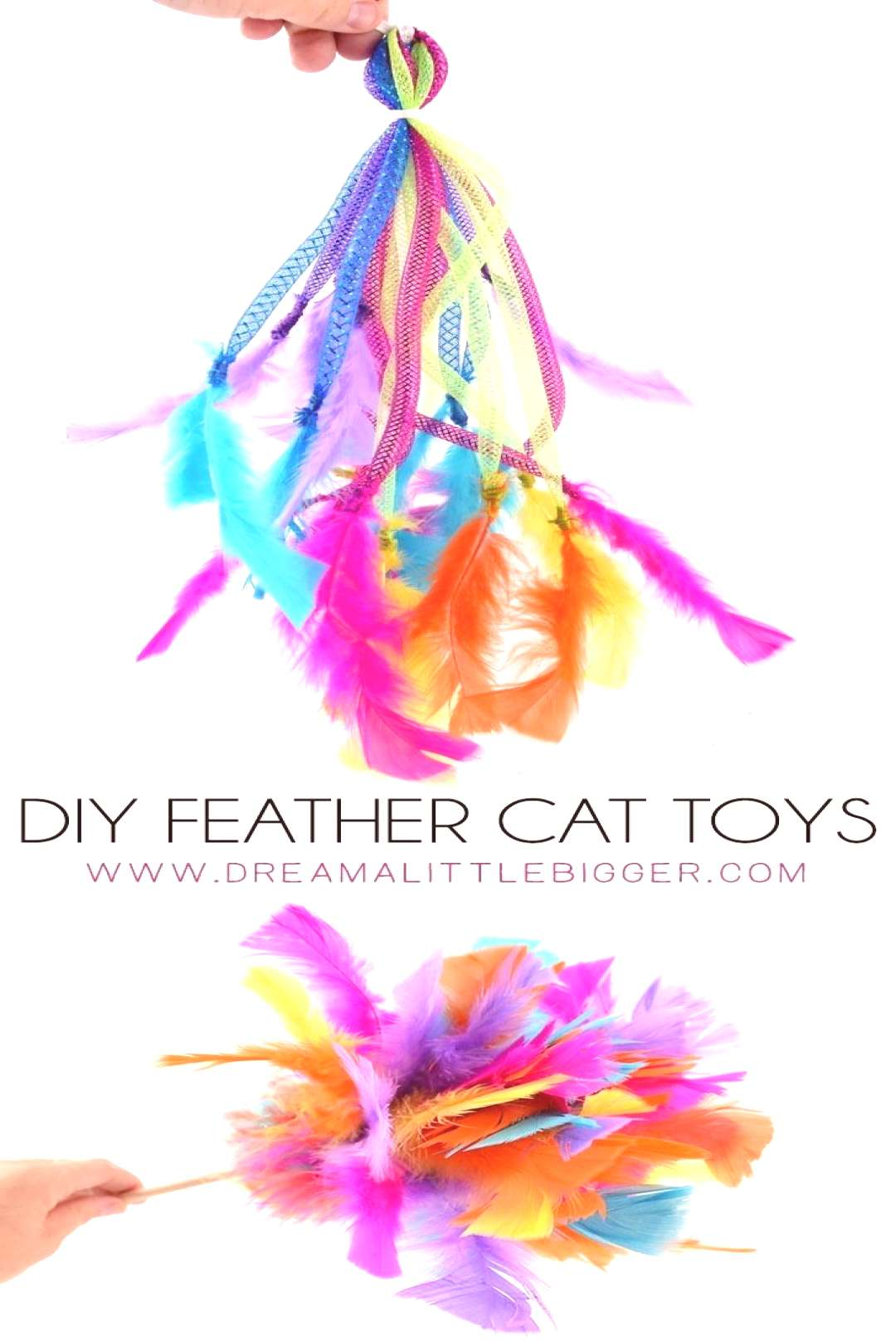 DIY Feather Cat Toys If your kitty loves feathers, and what cat doesnt, shes going to LOVE these