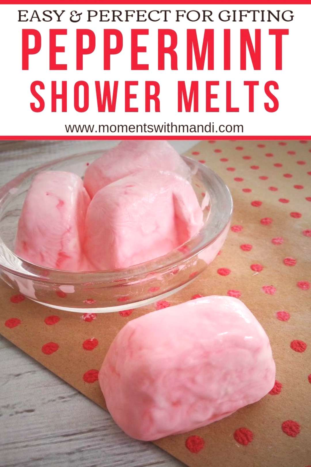 Easy and perfect for homemade gifts, these DIY Peppermint Shower Melts smell amazing!