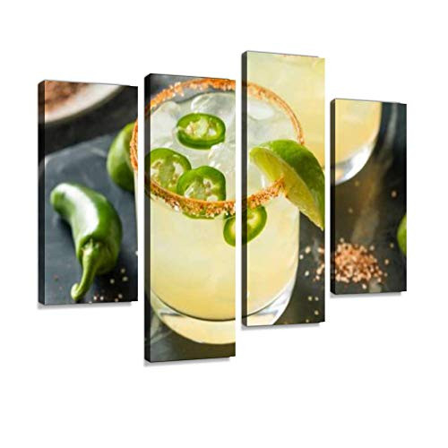 Homemade Spicy Margarita with Limes Canvas Wall Art Hanging