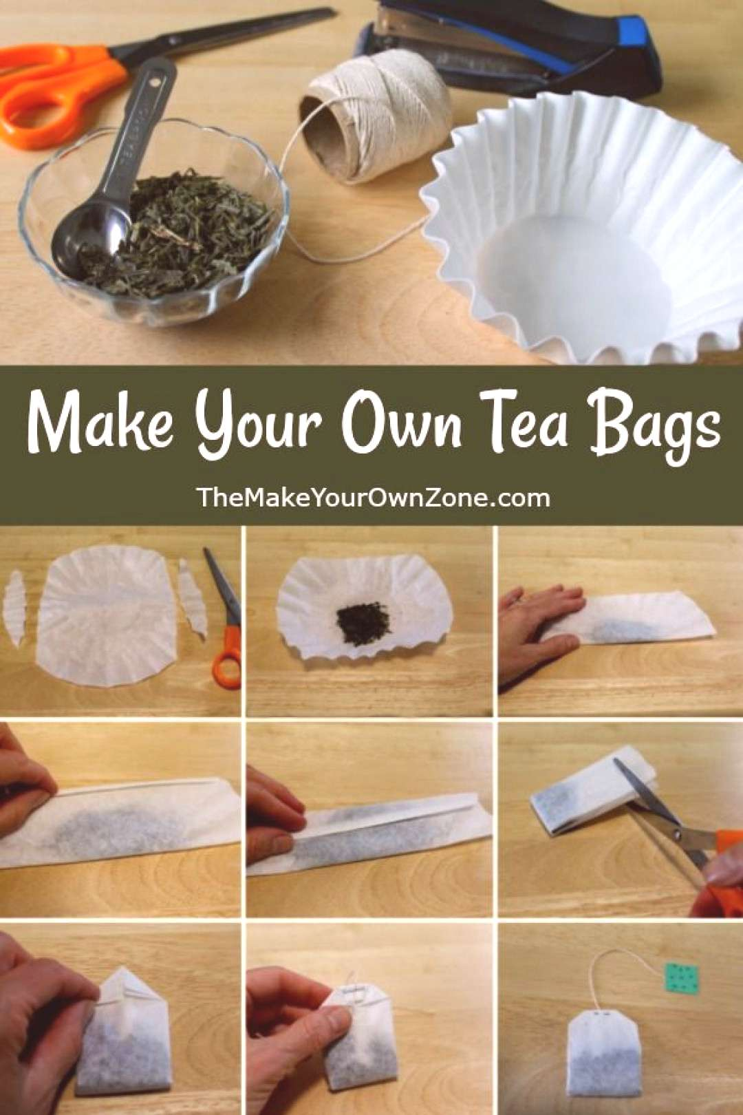 How To Make Your Own Tea Bags - Easy tutorial using coffee filters and loose tea. Perfect as homema