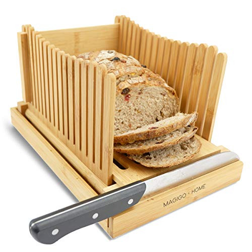 MAGIGO Bamboo Foldable Bread Slicer with Crumb Catcher Tray,