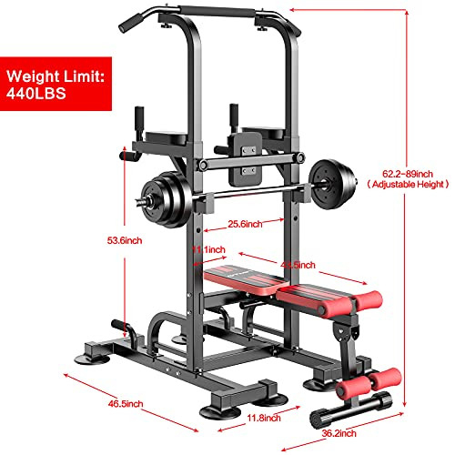 nimto Power Tower with Bench, Workout Dip Station for Home
