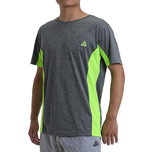 PEAK Mens Quick Dry Short Sleeve T-Shirt for Home Workouts,