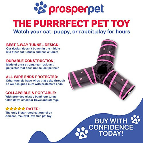 Prosper Pet Cat Tunnel - Collapsible 3 Way Play Toy - Tube