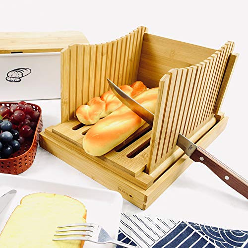 Purenjoy Bamboo Wood Foldable Bread Slicer Compact Bread
