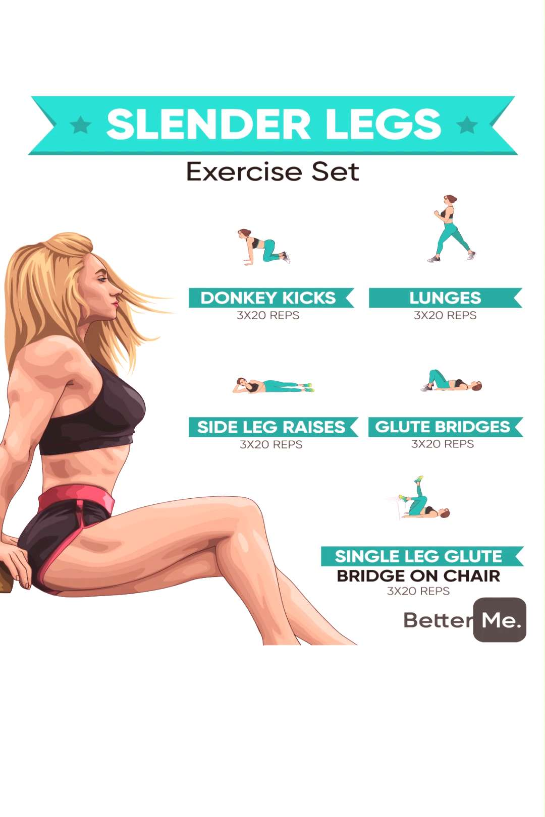 Slender legs exercise set Personal Body Type Plan to Make Your Body Slimmer at Home!!! Click to dow