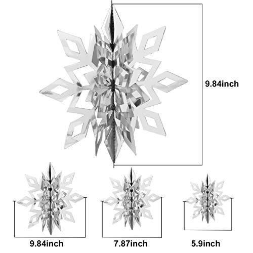 YSBER Winter Christmas Hanging Snowflake Decorations -12